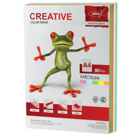Бумага CREATIVE color (Креатив) А4, 80г/м, 250 л. (5 цв.х50л.) цветная медиум, БОpr-250r, ш/к 40747
