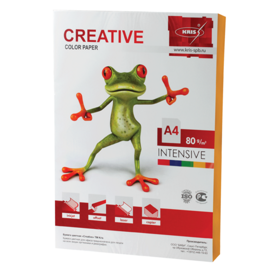 Бумага CREATIVE color (Креатив) А4, 80г/м, 100 л. интенсив оранжевая, БИpr-100ор, ш/к 45247